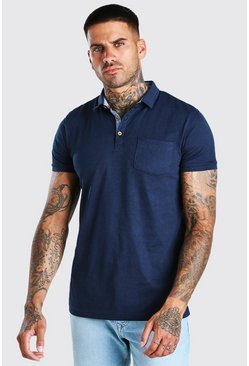 Navy Short Sleeve Polo With Pocket