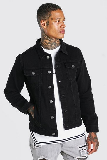 Black Regular Fit Denim Jacket
