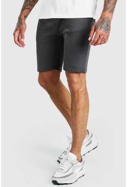 Charcoal Basic mellanlånga shorts i jersey