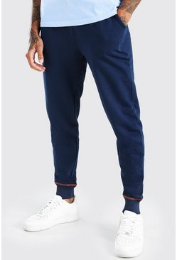 Navy Slim Fit Jogger With Contrast Stitch