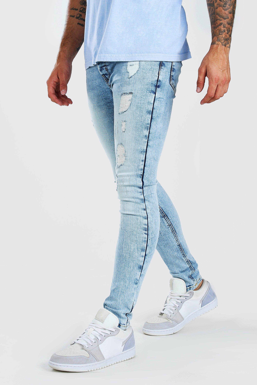 mens super skinny distressed washed jeans - blue