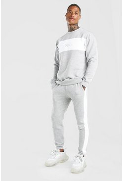Grey marl Man Signature Colour Block Sweater Tracksuit