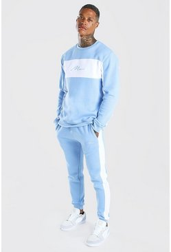 Man Signature Colour Block Sweater Tracksuit, Powder blue
