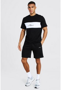 MAN Signature T-Shirt And Short Set, Black