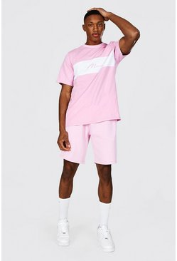 Pink MAN Signature T-Shirt And Short Set
