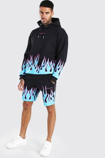 Black Official MAN Flame Print Hooded Short Tracksuit