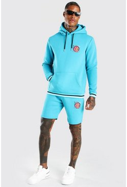 Teal LA Basket Ball Print Hooded Short Tracksuit