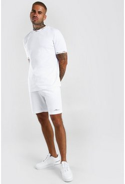 White MAN Signature Printed T-Shirt And Short Set