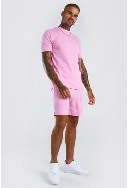 Light pink MAN Signature T-Shirt And Pintuck Short Set