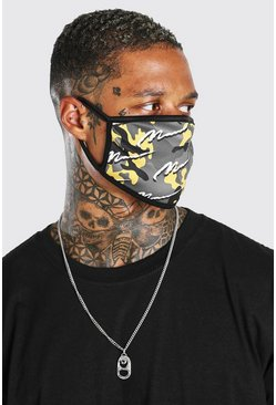 Yellow MAN Script All Over Camo Fashion Mask