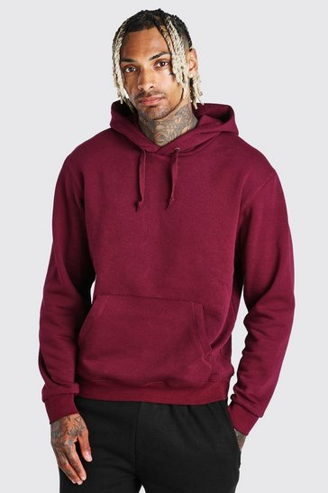 Burgundy Basic Over The Head Hoodie