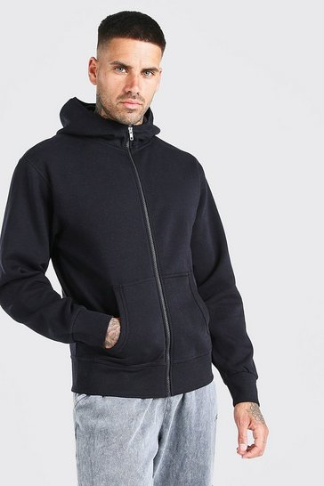 Black Basic Zip Through Hoodie