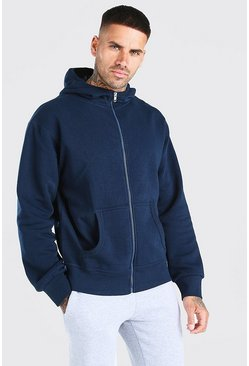 Navy Basic Zip Through Hoodie