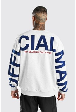 Grey marl Oversized MAN Official Back Print Sweat