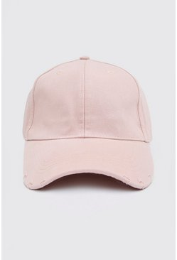 Pink Curve Peak Cap With Distressed Rips