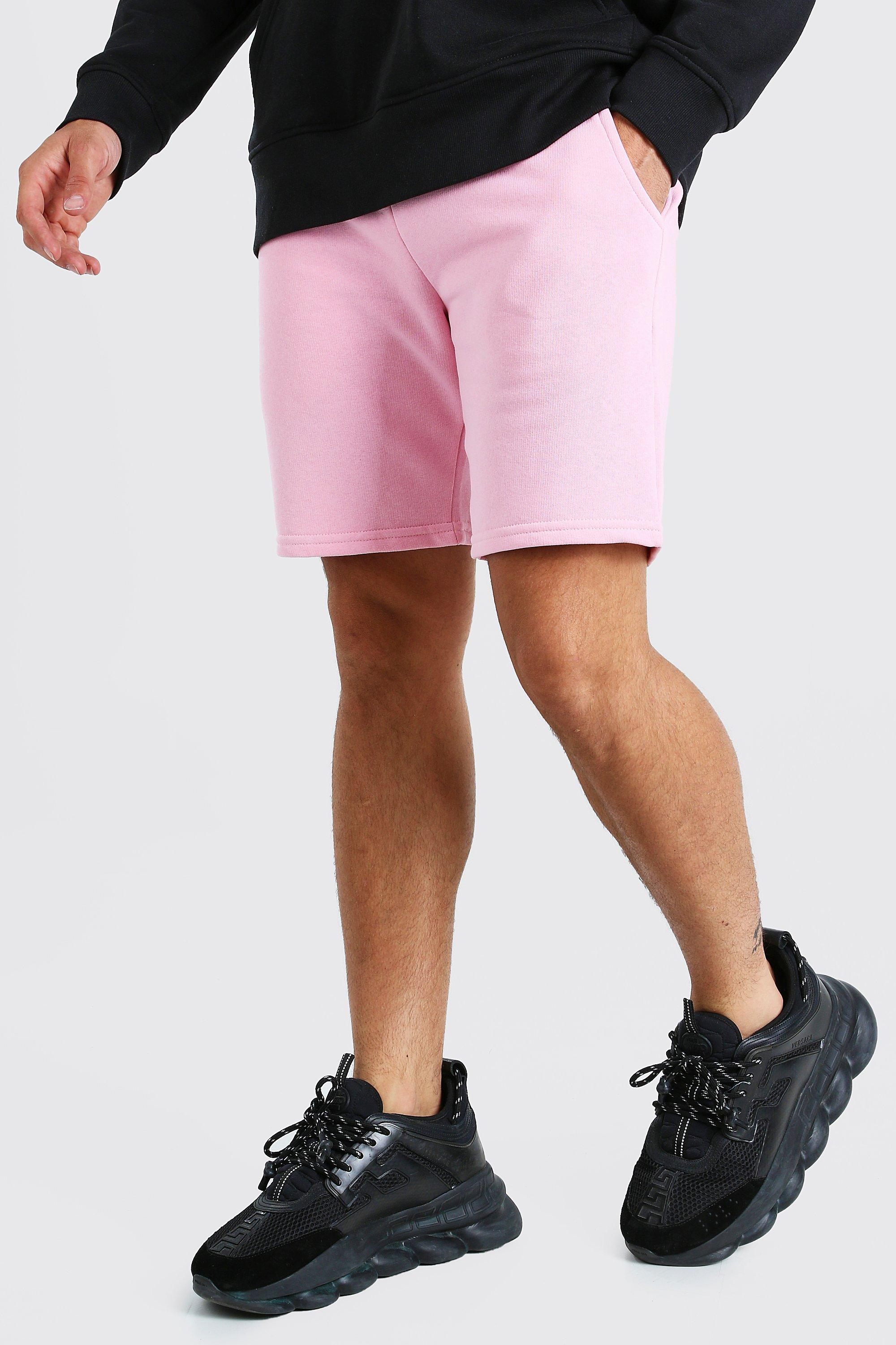 mens mid length jersey short with man drawcords - blue