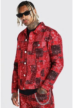 Red Bandana Print Denim Jacket