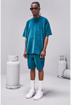 Teal MAN Towelling T-Shirt And Short Set