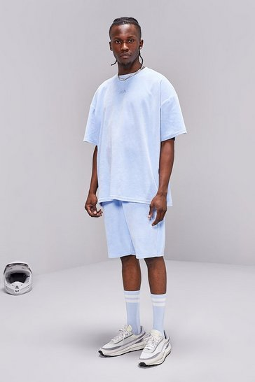 Powder blue MAN Towelling T-Shirt And Short Set