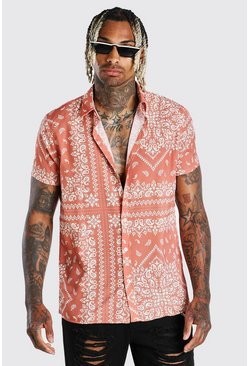 Orange Short Sleeve Border Print Shirt