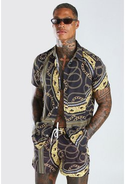 Black Short Sleeve Baroque Print Shirt