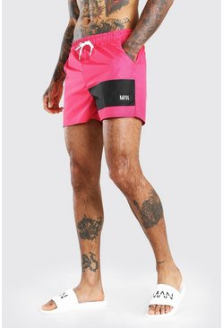 Red MAN Official Panel Mid Length Swim Short