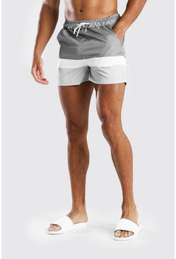 Short de bain mi-long colorblock MAN Signature, Gris
