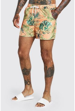 Orange Palm And Chain Print Mid Length Swimshort