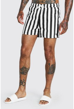 Multi Vertical Stripe Mid Length Swimshort