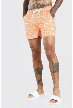 Orange MAN Signature Vertical Mid Length Swimshorts