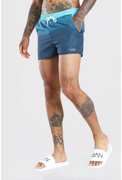 Teal MAN Official Ombre Short Length Swimshorts