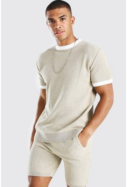 Stone Knitted T-Shirt And Short Set With Contrast Trim