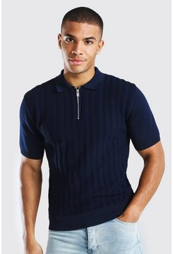 Navy Textured Smart Half Zip Knitted Polo