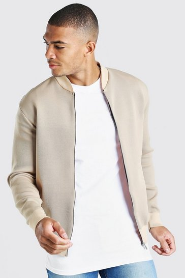 Beige Smart Knitted Bomber With Contrast Trim