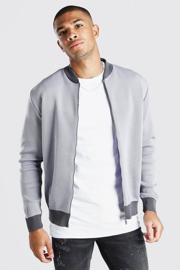 Light grey Smart Knitted Bomber With Contrast Trim