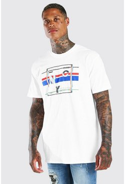 T-shirt oversize con stampa grafica NYC, Bianco