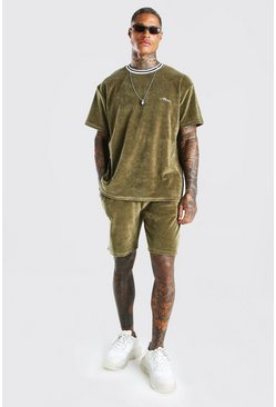 Sage MAN Oversized Velour T-Shirt & Short Set