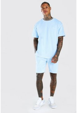 Light blue MAN Oversized Velour T-Shirt & Short Set