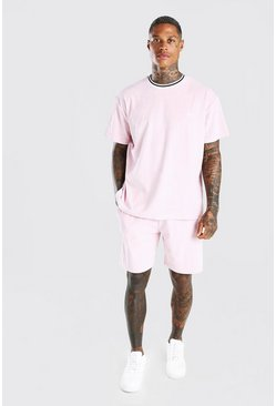 Light pink MAN Oversized Velour T-Shirt & Short Set