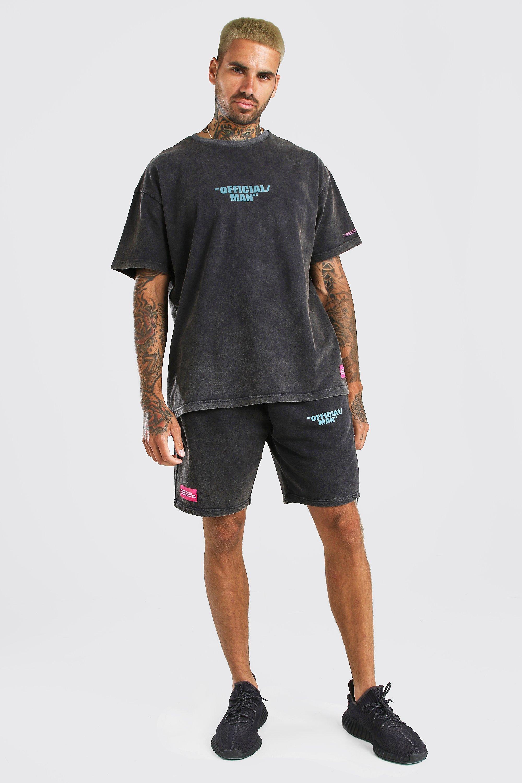 mens acid wash man printed t-shirt & short set - grey