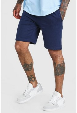 Navy Mid Length Jersey Short With Zip Pockets