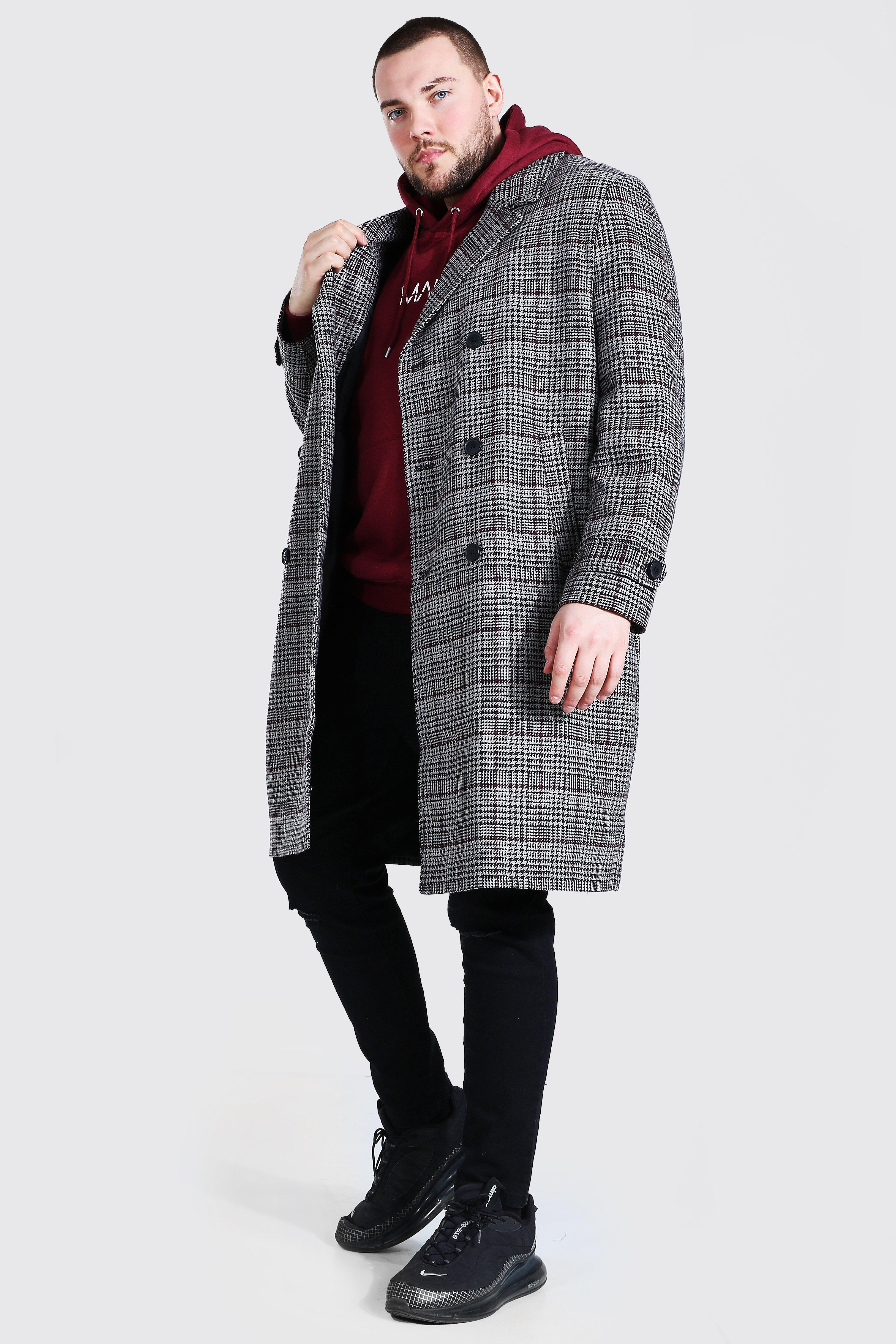Men's Vintage Jackets & Coats Mens Plus Size Grid Flannel Double Breasted Overcoat - Grey $48.00 AT vintagedancer.com