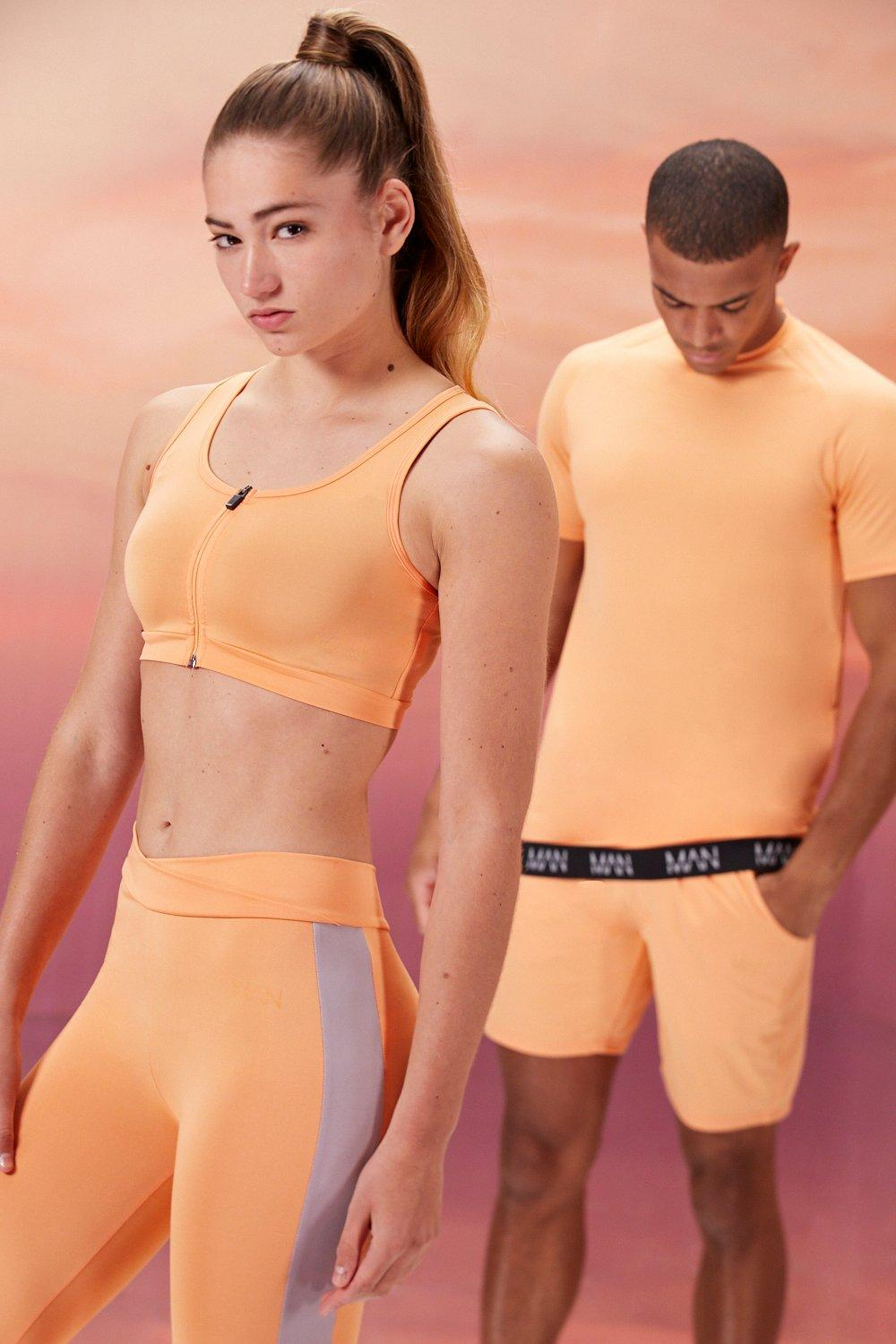 mens hers active sports bra with zip detail - orange
