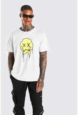 Grey marl Oversized Drip Face T-Shirt
