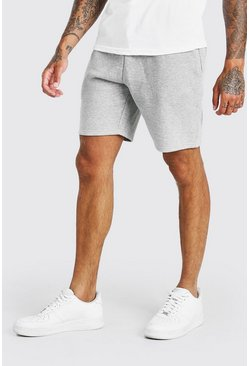 Grey marl BASIC MID LENGTH JERSEY SHORT