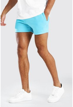 Bright blue BASIC SHORT LENGTH JERSEY SHORT