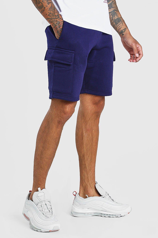 mens basic mid length cargo jersey short - navy