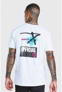 White Oversized MAN Official Graffiti Back Print T-Shirt