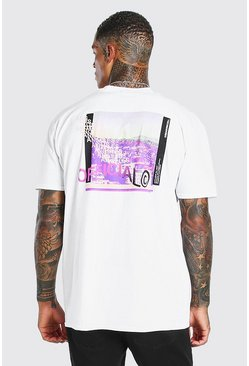 T-shirt coupe oversize imprimé photo dans le dos Official MAN, Blanc
