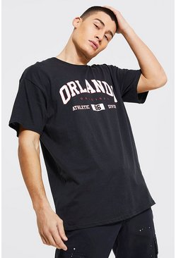 Black Oversized Orlando Print T-Shirt